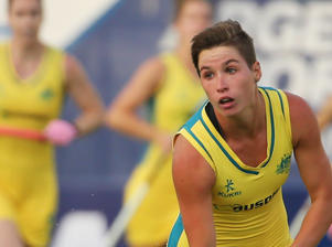Australia evened out the playing field in the third quarter with a penalty corner from Georgina Morgan, following an injection from Kathryn Slattery (pictured) and trap by Laura Barden.