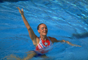 SPAIN - AUGUST 02:  Synchronized Swimming: 1992 Summer Olympics, USA Kristen Babb Sprague in action during solo routine, Barcelona, ESP 8/2/1992  (Photo by Richard Mackson/Sports Illustrated/Getty Images)  (SetNumber: X43177)