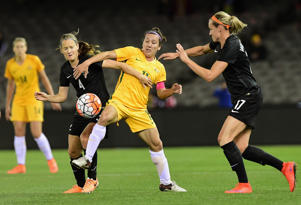 Katie Duncan of New Zealand and Lisa De Vanna of Australia compete for the ball during the Women's International Friendly match between the Australia Matildas and the New Zealand Football Ferns.