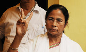 TMC Suprimo Mamata Banerjee after casting her vote during the fifth phase of West Bengal Assembly elections at South Kolkata, on April 30, 2016 in Kolkata, India.
