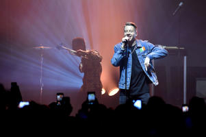 Macklemore (R) performs as headlining act at the Mail Brands Opening Gig during Advertising Week Europe 2016 at KOKO on April 18, 2016 in London, England.