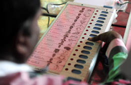 File: An Indian polling official checks the workings of Electronic Voting Machines(EVM)at a distribution point in Chennai on May 10, 2016, ahead of voting in state assembly elections in the southern Indian state of Tamil Nadu.