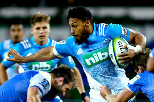 George Moala of the Blues attempts to break from a tackle during the round 13 Super Rugby match between the Force and the Blues at nib Stadium on May 21, 2016 in Perth, Australia.