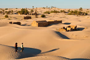 North Africa, Tunisia, Kebili province, the village of Zaafrane stuck in the sand