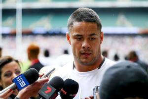 Jarryd Hayne of Fiji gives an interview to the media during day one of the HSBC London Sevens at Twickenham Stadium on May 21.