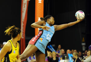 Steel's Jhaniele Fowler-Reid keeps the ball in play against the Pulse in the ANZ Championship netball match at TSB Bank Arena, Wellington, New Zealand, Monday, May 23, 2016