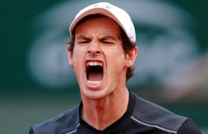 Britain's Andy Murray reacts after winning a game in the third set as he plays Radek Stepanek of the Czech Republic during their first round match of the French Open tennis tournament at the Roland Garros stadium, Monday, May 23, 2016 in Paris. (AP Photo