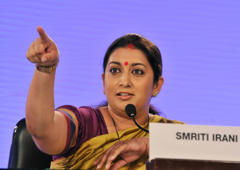 File: Smriti Irani, National Vice President of BJP at a session on Women: Changing the Indian Mind-Set during an interaction session on the second day of the Hindustan Times Leadership Summit on December 7, 2013 in New Delhi, India.