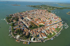 An aerial view of Italy's Burano island.<br>