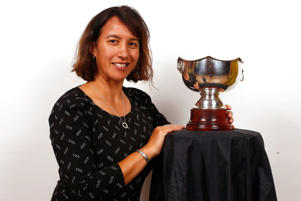 Dr Farah Palmer poses with the Farah Palmer Cup during a portrait session on May 25, 2016 in Auckland, New Zealand