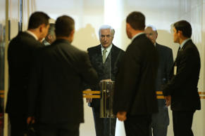 Brazil's interim President Michel Temer looks on after a ceremony for inauguration of the new Minister of Culture, Marcelo Calero, at the Planalto Palace in Brasilia