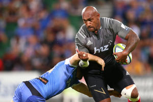 Nemani Nadolo of the Crusaders looks to break form a tackle during the round seven Super Rugby match between the Force and the Crusaders at nib Stadium on April 8, 2016 in Perth, Australia