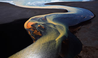 One of a series of aerial shots taken from a helicopter over the fabulous river deltas in South Iceland.