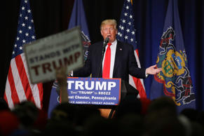 In this April 25, 2016, photo, Republican presidential candidate Donald Trump speaks during a campaign rally at West Chester University in West Chester, Pa.