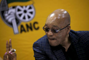 South Africa's President and ANC party president Jacob Zuma reacts as he attends the party's National Executive Committee (NEC) three-day meeting in Pretoria, March 18, 2016.