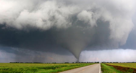 A tornado is shown in Kansas in 2016. Other places outside the U.S. are at risk of dangerous tornadoes, experts say.