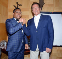 Fikile Mbalula and Arnold Schwarzenegger attends the Arnold Schwarzenegger gala dinner hosted by the Gauteng Premier, David Makhura on May 27, 2016 in Johannesburg, South Africa.