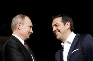 Greek Prime Minister Alexis Tsipras (R) welcomes Russian President Vladimir Putin at the Maximos Mansion in Athens, Greece, May 27, 2016.    Width: 2200