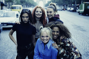 English pop girl group The Spice Girls in Paris.