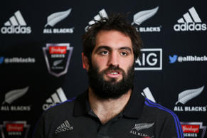 Sam Whitelock speaks to media during a New Zealand All Blacks press conference.