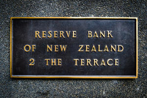 A plaque on the outside of the Reserve Bank of New Zealand headquarters on The Terrace in Wellington, New Zealand