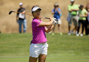 Lydia Ko watches a drive at the US Open.