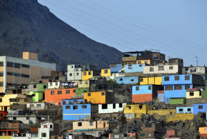 Peru's colorful shanty town under Cerro San Cristóbal.
