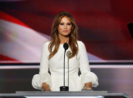 CLEVELAND, OHIO--JULY 18:  Melania Trump speaks during the Republican National Convention on July 18, 2016, the first night of the convention on July 18, 2016 in Cleveland, Ohio. (Photo by Carolyn Cole/Los Angeles Times via Getty Images)