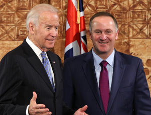John Key (R) and US Vice-President Joe Biden (L) address the media at Government House on July 21, 2016 in Auckland, New Zealand
