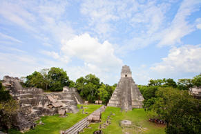 Looking out over the Grand Plaza in the Tikal National Park.