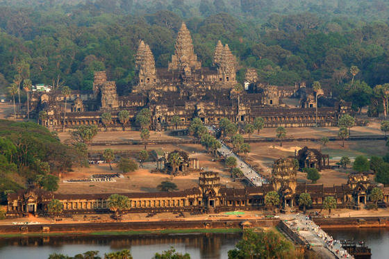 Siem Reap, CAMBODIA: An aerial view of the Angkor Wat temple in Siem Reap province some 314 kilometers northwest of Phnom Penh, 02 March 2007. Angkor is at the very heart of Cambodia's identity, and with nearly two million tourists coming to the country