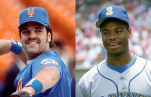 File photos of Mike Piazza, left, and Ken Griffey Jr. in the 1990s.