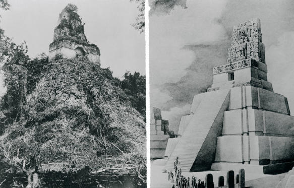 "(Original Caption) Jungle foliage covers a once-magnificent Mayan Temple (left) in the ""ghost"" city of Tikal, Guatemala. The city, largest and possibly oldest site of Mayan civilization, will be explored and partially restored by the University Museum of the University of Pennsylvania. When uncovered and repaired, the temple will look like the drawing at right. The restoration work is intended to make Tikal the ""finest architectural monument of American Indian civilization"" in existence. Bettmann"