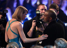 File photo of Taylor Swift and rapper Kanye West at the 57th Annual GRAMMY Awards
