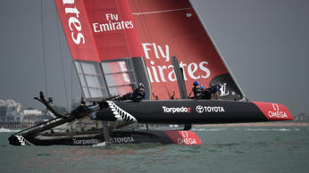 Team New Zealand during racing in Portsmouth.