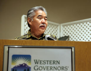 In this Thursday, April 7, 2016 photo, Hawaii Gov. David Ige speaks at workshop held by the non-partisan Western Governor's Association in Honolulu, addressing Wyoming Gov. Matt Mead's Species Conservation and Endangered Species Act Initiative.