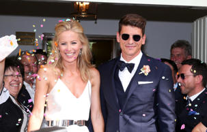Bridegroom Mario Gomez and his wife Carina Wanzung during their wedding at regis...