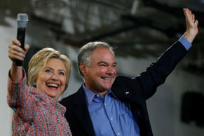 Democratic U.S. presidential candidate Hillary Clinton and U.S. Senator Tim Kain...