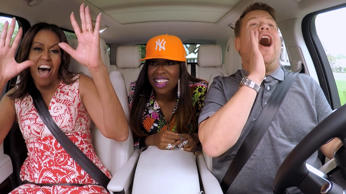 LOS ANGELES - JULY 20: The First Lady Michelle Obama and Missy Elliott join James Corden for Carpool Karaoke on 'The Late Late Show with James Corden,' Wednesday, July 20th 2016(12:37-1:37 AM, ET/PT) on The CBS Television Network. Image is a screen grab.