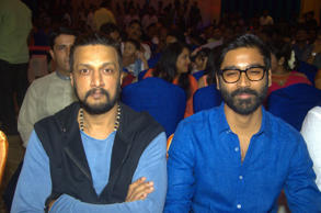 Sudeep and Dhanush graced the audio and trailer launch of Tamil film 'Mudinja Ivana Pudi'.<br />