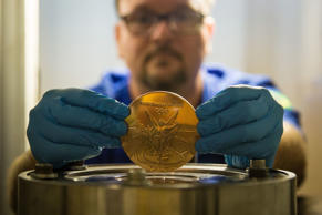 Rio 2016 Olympic Games, medal manufacturing, Brazil - Jul 2016 The manufacturing process of the Rio 2016 Olympic and Paralympic medals at Casa da Moeda do Brasil (Brazilian Mint)
