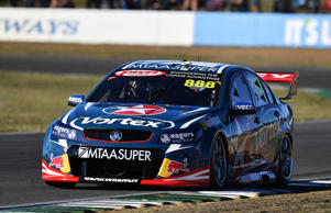 Craig Lowndes drives the #888 TeamVortex Holden Commodore VF during race 2 for the V8 Supercars Ipswich Supersprint on July 24.