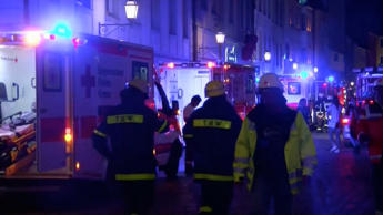 Video grab of emergency workers and vehicles following an explosion in Ansbach