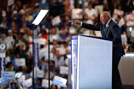 Rep. Elijah Cummings (D-MD) gestures while delivering a speech on the first day of the Democratic National Convention at the Wells Fargo Center, July 25, 2016 in Philadelphia, Pennsylvania. An estimated 50,000 people are expected in Philadelphia, including hundreds of protesters and members of the media. The four-day Democratic National Convention kicked off July 25.