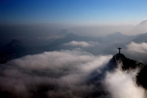 RIO DE JANEIRO, BRAZIL - JULY 25: Aerial view of the Christ the Redeemer statue as Rio prepares for the 2016 Summer Olympic Games on July 25, 2016 in Rio de Janeiro, Brazil. (Photo by Matthew Stockman/Getty Images)