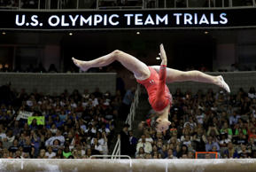 Maggie Nichols competes on the balance beam during the women's U.S. Olympic gymnastics trials in San Jose, Calif., Sunday, July 10, 2016. (AP Photo/Gregory Bull)