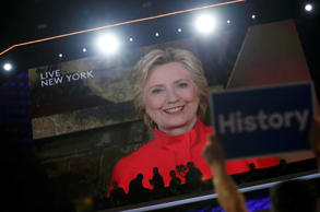 Democratic presidential nominee Hillary Clinton addresses the Democratic Nationa...