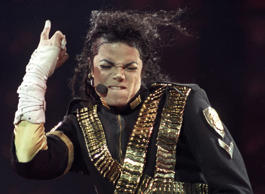 Michael Jackson performs a song during a concert in Sao Paulo, in this October 15, 1993 file photo.