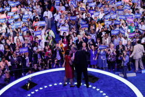 Democratic Nominee for Vice President Tim Kaine kisses his wife Anne Holton at t...