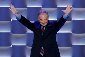 Democratic vice presidential candidate, Sen. Tim Kaine, D-Va., waves as he walks on the stage during the third day of the Democratic National Convention in Philadelphia , Wednesday, July 27, 2016.